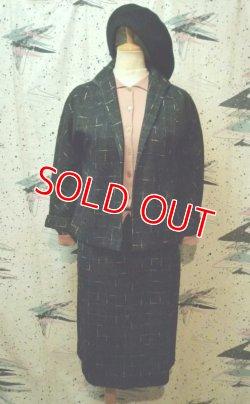 画像1: ヴィンテージ50s 黒ピンクグレー カスリ柄ウールスーツ